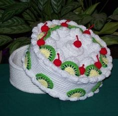 Kiwi Cherry Treasure Cake PDF Crochet Pattern by FourBeesDesigns