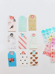 pattern gift tags + watercolors