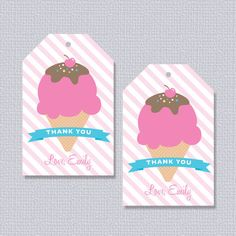 Ice Cream Party Favor Tags Personalized Printable (Digital File)