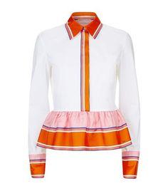 EMILIO PUCCI Printed Peplum Cropped Shirt. #emiliopucci #cloth #