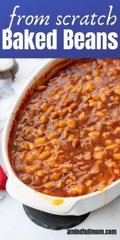 Savory salty sweet These Maple Baked Beans are made from scratch With a rich molasses maple sauce these homemade baked beans are a perfect side dish sidedish summer bakedbeans Homemade Baked Beans, Baked Beans Crock Pot, Easy Baked Beans, Baked Bean Recipes, Baked Bean Sauce Recipe, Baked Beans With Bacon, Beans Recipes, Pork And Beans Recipe, Baked Beans With Molasses Recipe