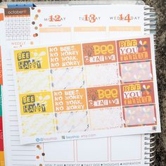 October / Bumblebee Theme Half Boxes Sticker Planner // Perfect for Erin Condren Life Planner by FasyShop on Etsy