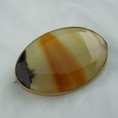 Antique Brooch Pin Banded Agate Victorian 10K Gold Vintage | eBay