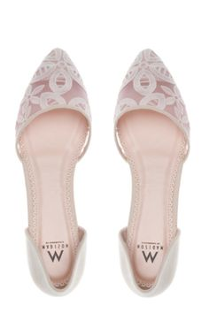 Blush lace flats
