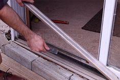Removing the metal place Glass Door Repair, Sliding Glass Door, Sliding Doors, Furniture Repair, Cabin Ideas, Hardware, Metal, Sliding Door, Metals