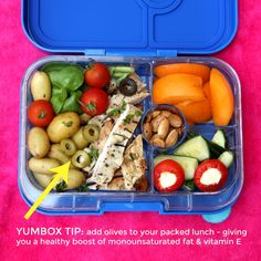 My #Yumbox of the day - leftovers packed for the beach. I love adding extra olive slices to boost my intake of Vitamin E and monosaturated fats. Easy peasy good nutrition. Yumbox in Baja Blue.