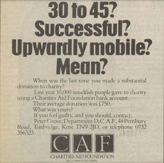 Charities Aid Foundation. 15 December, 1984.