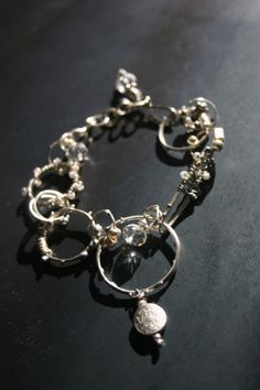 Whimsical Silver and Crystal Bracelet by jihidesigns on Etsy, $55.00