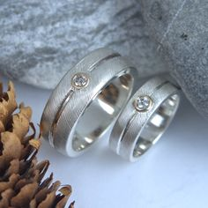 gold silver and diamond feather line rings