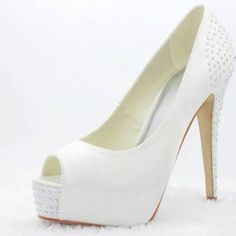 Classy Satin Upper Bridal Pumps with Platform and Rhinestones