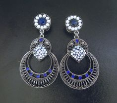 Silver 00G Blue and White Gemstone Dangle Plugs Vintage Plugs Earrings for Stretched Ears $45