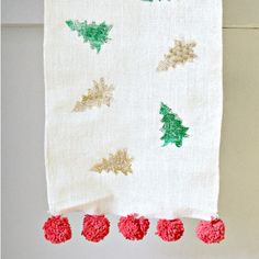 Turn a plain Jane table runner into festive and interesting using adhesive foil technique.