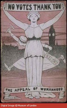 anti-suffragette cartoon - Notice the gawky, frenzied suffragette running behind the poised and graceful pillar of true womanhood. The message being, a real woman wants no part of anything as base as politics.