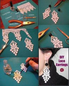 Diy lace earrings diy lace earrings by diyforeverDIY Lace Earrings DIY Projects clear nail polish is what they are using to stiffen and protect the lace.Gibson Girl saved to Craft Lace Earrings. don't like heavy earrings, these would be great. Lace Jewelry, Textile Jewelry, Fabric Jewelry, Leather Jewelry, Jewelry Crafts, Jewelery, Handmade Jewelry, Jewellery Box, Diamond Jewelry