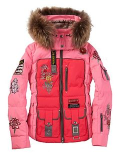 Loving this jacket.  Except the fur hood.  I can't have it because of that.  But still...It is so pretty.