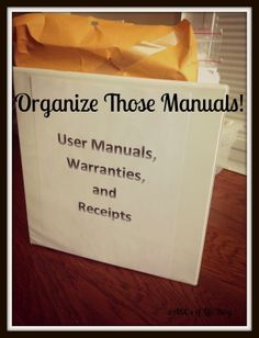 Organize All Those Manuals! Plus FREE cover sheet!