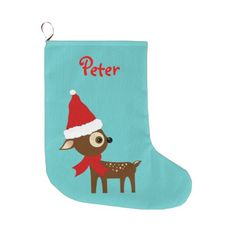 Cute Reindeer Name Personalized Christmas Stocking