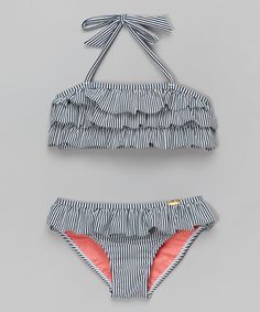 Jessica Simpson Collection Navy Ruffle Seersucker Bikini - Toddler & Girls by Jessica Simpson Collection