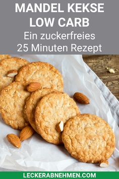 These almond cookies are low carb and sugar free. Chewy Sugar Cookie Recipe, Sugar Free Cookies, Almond Cookies, Healthy Diet Recipes, Clean Recipes, Low Carb Recipes, Le Diner, Low Carb Desserts, Pumpkin Recipes