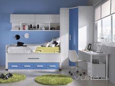 dormitorio infantil blanco y azul - Buscar con Google