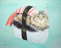 Sushi Cat Original Illustration by Catshrine - Archival Giclée Matte Print // 'Cat Sushi'