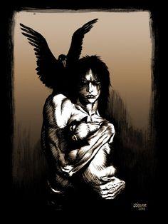 The Crow print by James O'Barr (O Corvo pintado em 2011 por James O'Barr - criador do personagem)