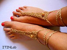 Free shipping, Handmade, crochet, women accessories, barefoot sandals, feet jewelry, indian anklet, golden yarn, golden beads, hippie, boho