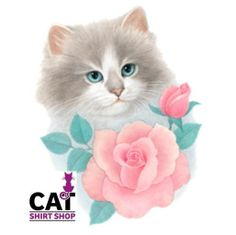 Cat with Pink Rose Shirt, white cat with blue eyes & flower, Sm - 5X