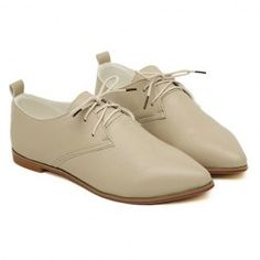 $13.18 Casual Women's Flat Shoes With Simple Solid Color and Lace-Up Design