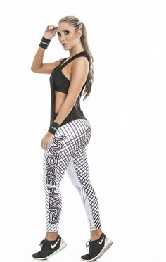 "Black and White ""Work Harder"" Leggings -Fiber"