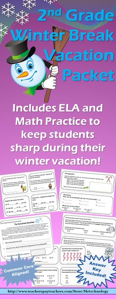 This Grade 2 Winter Break Vacation Packet will keep your 2nd graders sharp during their winter break with CCSS-aligned challenging questions in both ELA and Math! Packet includes: • Reading Log to keep track of their reading for the week • Vocabulary Word Work • Mini-reading passages with winter themes • Test-prep style multiple choice questions and answers in reading and math. Answer Key and Common Core State Standards included.