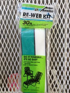 """1 Vintage NIP-Green, black, white Arden Paradise 3"""" chair Re-Web Kit- 30 ft. by rummagechicboutique on Etsy"""