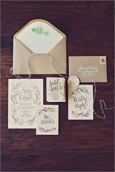 wedding stationery by Curious Me Design @weddingchicksAmy + Chad Vintage Chic Hawaiian Wedding Design + Planning: Opihi Love Photo: Tamiz Photography