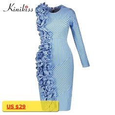 Kinikiss 2017 spring women bodycon dress blue plaid asymmetric pleated patchwork party dress autumn fashion sheath club dress