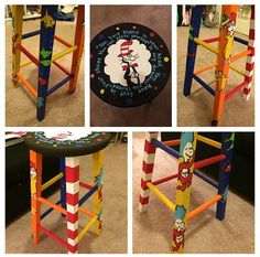 Painted 24 inch cafe/bar stool by on Etsy Auction Ideas, Art Auction, Painted Stools, Mud Kitchen, Cat Hat, Rocking Chairs, Hand Painted Furniture, Cafe Bar, School Counseling