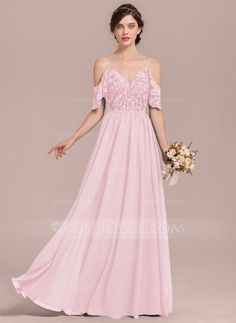 Blush by hayley paige bridal spring 2019 pinterest a lineprincess v neck floor length chiffon lace bridesmaid dress with cascading ruffles 007126445 junglespirit Images