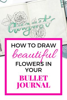 Floral line drawing is just so beautiful, especially in bullet journals. If you struggle with drawing flowers, then check out this post! Making A Bullet Journal, Bullet Journal Contents, Bullet Journal For Beginners, Bullet Journal How To Start A, Bullet Journal Junkies, Bullet Journal Spread, Bullet Journal Layout, Bullet Journal Inspiration, Bullet Journals