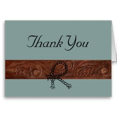 Simulated Leather and Turquoise Thank You Greeting Card