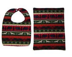 Christmas Bib & Burp Rag Gift Set: Fox bib/ black bear bib/ baby bear bib/ Christmas tree bib/ woodland bib/ Christmas plaid bib