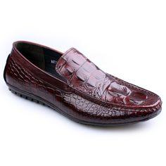 Genuine Leather With Crocodile Skin Men's Slip-on