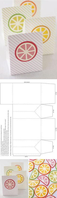 Free cutting files and templates for a flap box and citrus slices (+striped papers) - by Kristen Magee at 'Paper Crave'