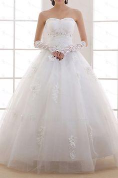 Organza scoop golv längd balklänning bröllopsklänning med handgjorda blommor - Focus Vogue