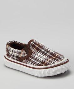 Loving this Brown Plaid Slip-On Sneaker on #zulily! #zulilyfinds