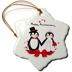 The Holiday Aisle Hearts Happy Anniversary Snowflake Holiday Shaped Ornament