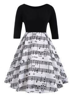 Plus Size Musical Notes Print Vintage Dress in White And Black 5xl | Sammydress.com