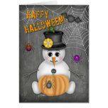 Happy Halloween Chalkboard Snowman Spiders Pumpkin Card #halloween #happyhalloween #halloweenparty #halloweenmakeup #halloweencostume