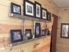 Using an old wooden ladder, my husband cut it the length I needed, and it was a perfect shelf for pictures. Love it!