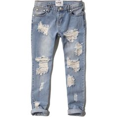 Abercrombie & Fitch One Teaspoon Awesome Baggies Jeans (£62) ❤ liked on Polyvore featuring jeans, pants, bottoms, denim, destroyed light wash, ripped denim jeans, blue jeans, rock n roll jeans, distressed boyfriend jeans and ripped jeans