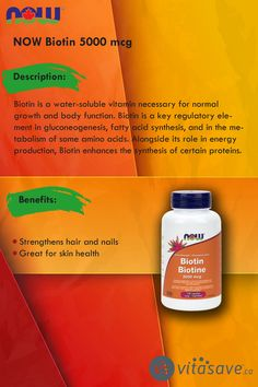 Biotin is a water-soluble vitamin necessary for normal growth and body function. Biotin, Calorie Diet, Amino Acids, Beauty Care, Metabolism, Natural Health, Vegan Vegetarian, Hair And Nails
