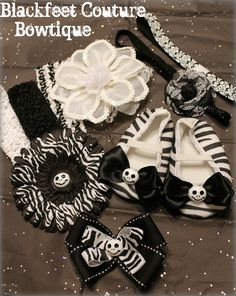 Jack Skellington Baby gift set in theme Black/White and Zebra includes size 2 shoes, hair bow, flowers, and headbands